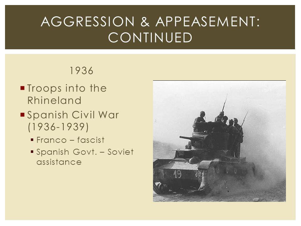 1936  Troops into the Rhineland  Spanish Civil War (1936-1939)  Franco – fascist  Spanish Govt.