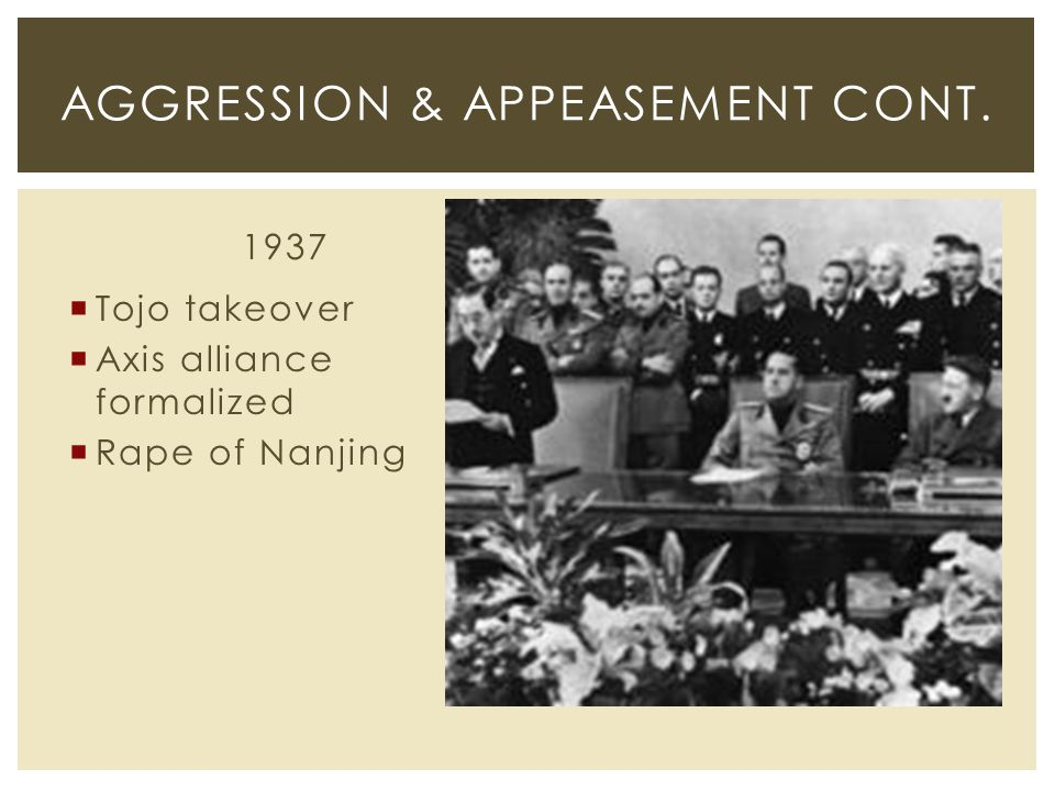 1937  Tojo takeover  Axis alliance formalized  Rape of Nanjing AGGRESSION & APPEASEMENT CONT.