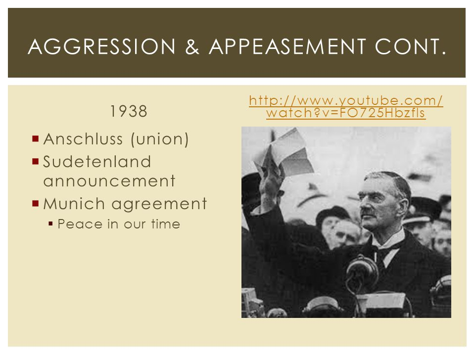 1938  Anschluss (union)  Sudetenland announcement  Munich agreement  Peace in our time http://www.youtube.com/ watch?v=FO725Hbzfls AGGRESSION & AP