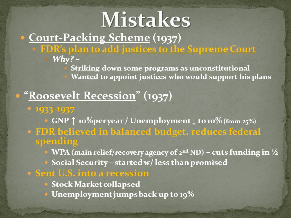Roosevelt Recession (1937) 1933-1937 GNP ↑ 10%per year / Unemployment ↓ to 10% (from 25%) FDR believed in balanced budget, reduces federal spending WPA (main relief/recovery agency of 2 nd ND) – cuts funding in ½ Social Security – started w/ less than promised Sent U.S.