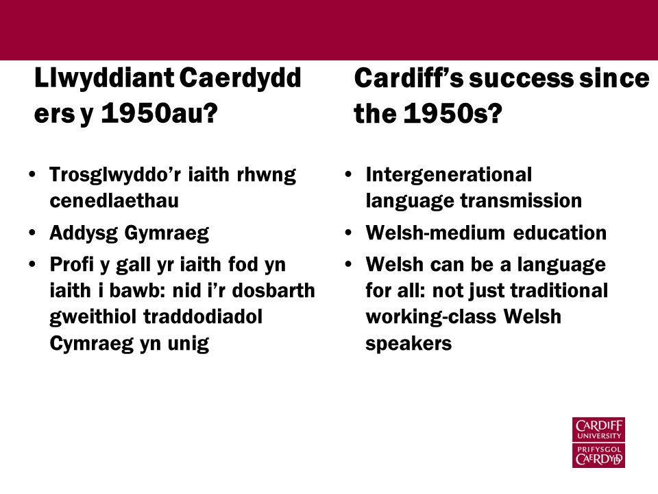 Llwyddiant Caerdydd ers y 1950au.