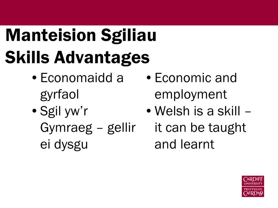 Manteision Sgiliau Skills Advantages Economaidd a gyrfaol Sgil yw'r Gymraeg – gellir ei dysgu Economic and employment Welsh is a skill – it can be tau