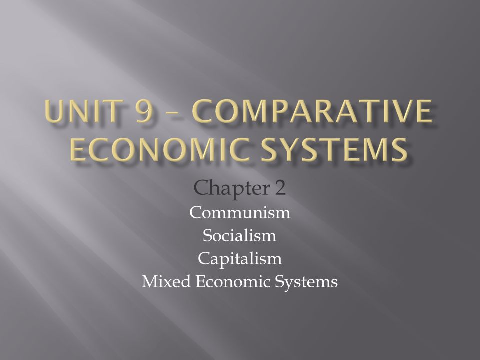 Chapter 2 Communism Socialism Capitalism Mixed Economic Systems