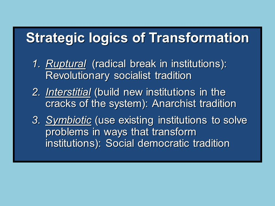 Strategic logics of Transformation 1.Ruptural (radical break in institutions): Revolutionary socialist tradition 2.Interstitial (build new institutions in the cracks of the system): Anarchist tradition 3.Symbiotic (use existing institutions to solve problems in ways that transform institutions): Social democratic tradition