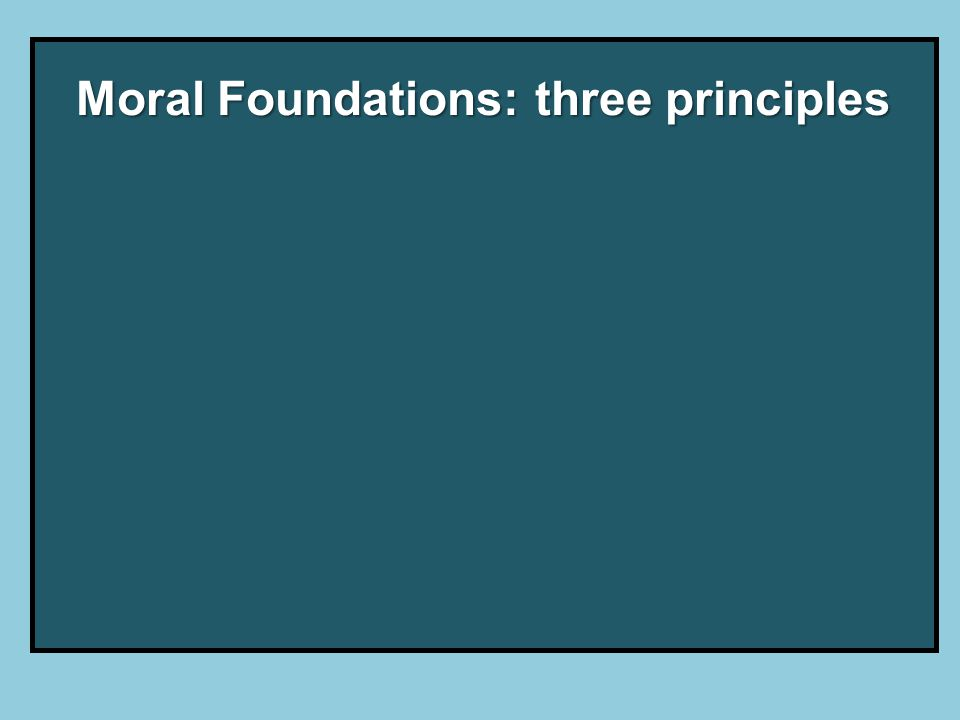 Moral Foundations: three principles Equality: In a socially just society all persons would have broadly equal access to the material and social means necessary to live a flourishing life.