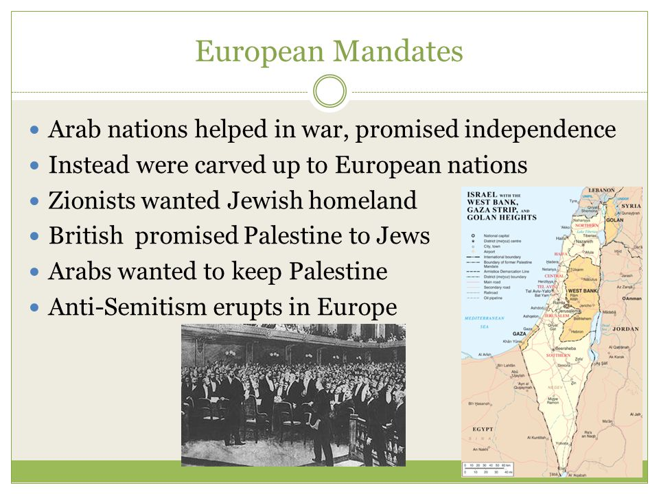 European Mandates Arab nations helped in war, promised independence Instead were carved up to European nations Zionists wanted Jewish homeland British promised Palestine to Jews Arabs wanted to keep Palestine Anti-Semitism erupts in Europe