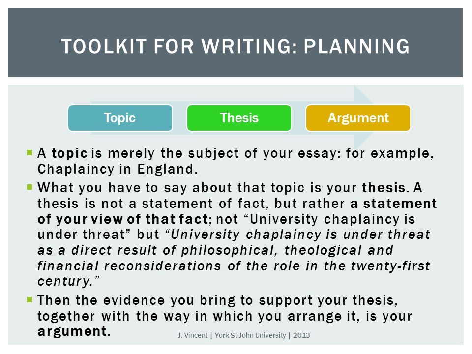  A topic is merely the subject of your essay: for example, Chaplaincy in England.