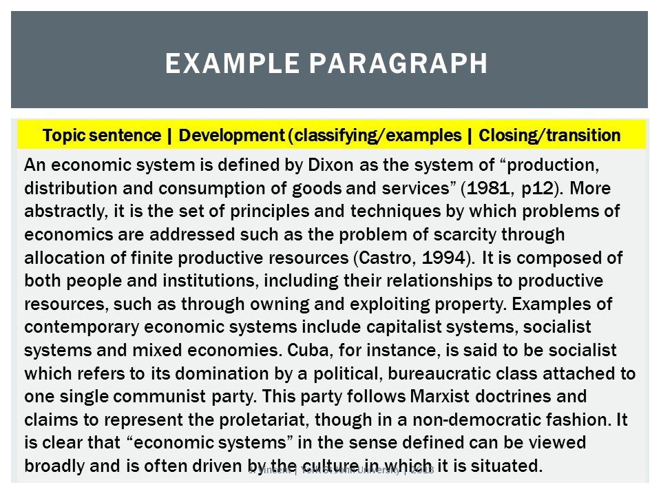 EXAMPLE PARAGRAPH An economic system is defined by Dixon as the system of production, distribution and consumption of goods and services (1981, p12).