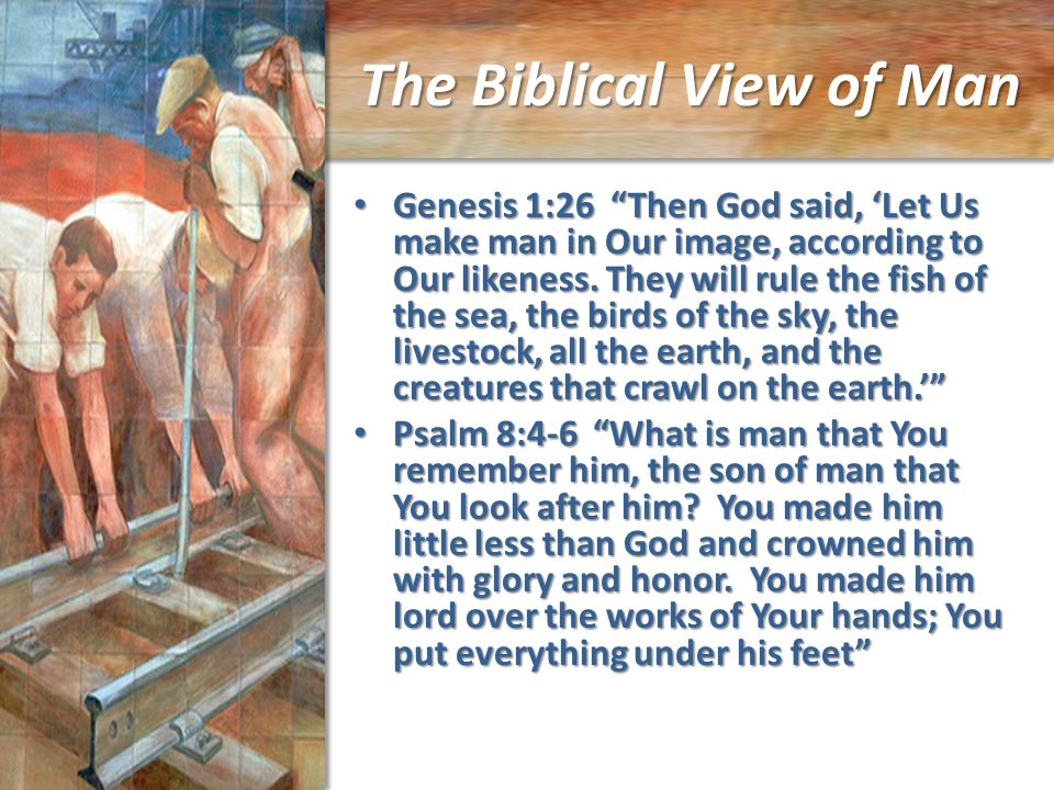The Biblical View of Man Genesis 1:26 Then God said, 'Let Us make man in Our image, according to Our likeness.