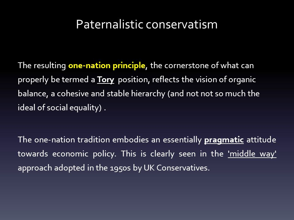 Paternalistic conservatism The resulting one-nation principle, the cornerstone of what can properly be termed a Tory position, reflects the vision of organic balance, a cohesive and stable hierarchy (and not not so much the ideal of social equality).