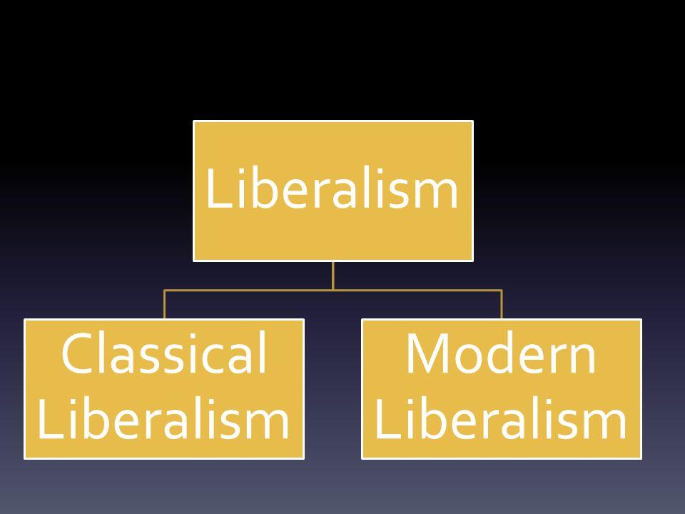 Liberalism Classical Liberalism Modern Liberalism