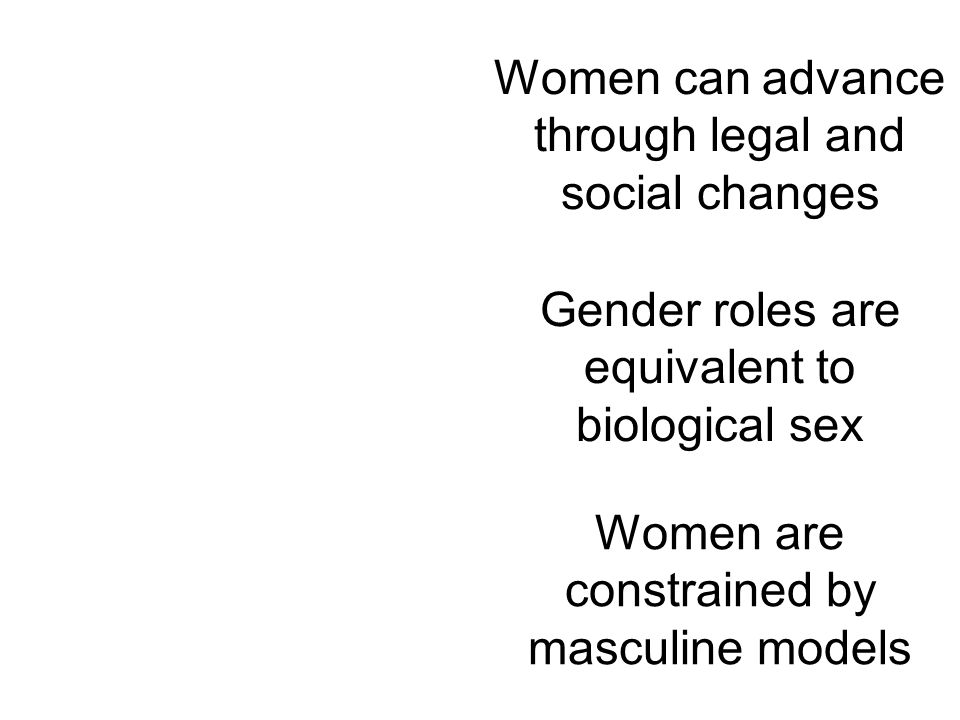 Women can advance through legal and social changes Gender roles are equivalent to biological sex Women are constrained by masculine models