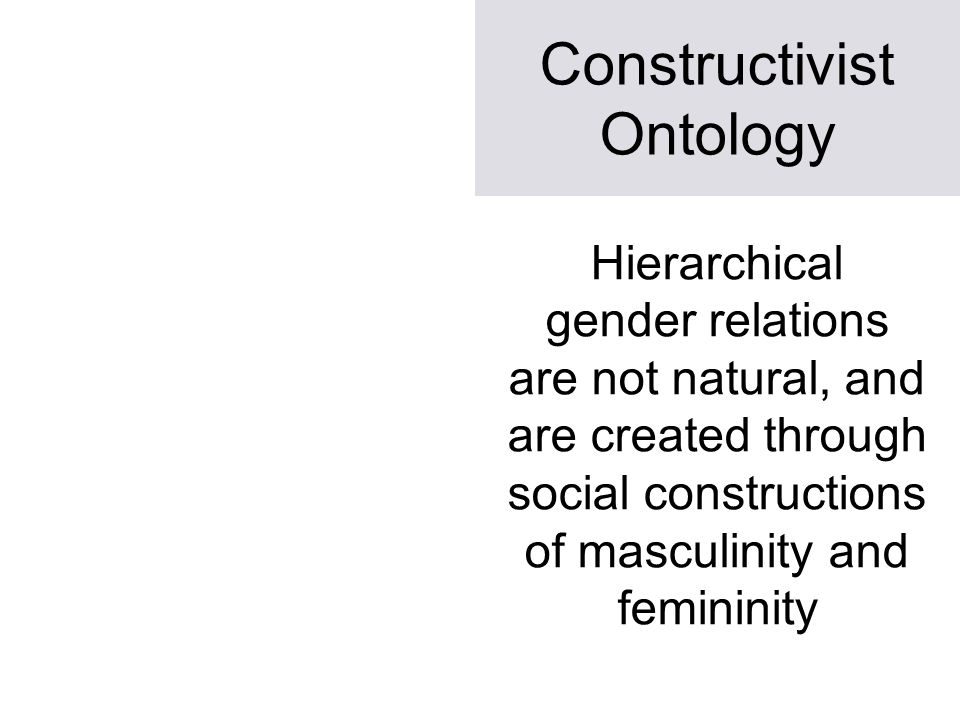 Constructivist Ontology Hierarchical gender relations are not natural, and are created through social constructions of masculinity and femininity