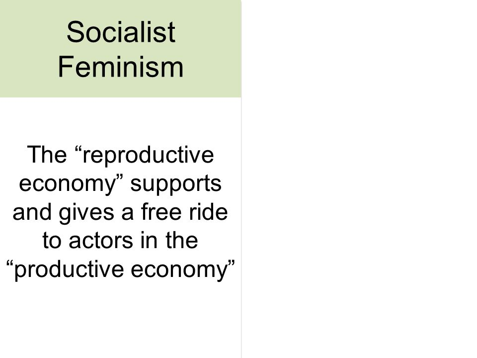 The reproductive economy supports and gives a free ride to actors in the productive economy Socialist Feminism