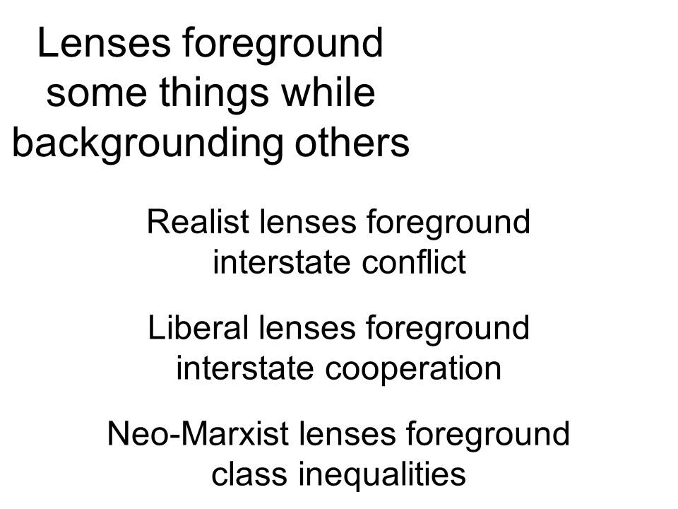 Lenses foreground some things while backgrounding others Realist lenses foreground interstate conflict Liberal lenses foreground interstate cooperatio