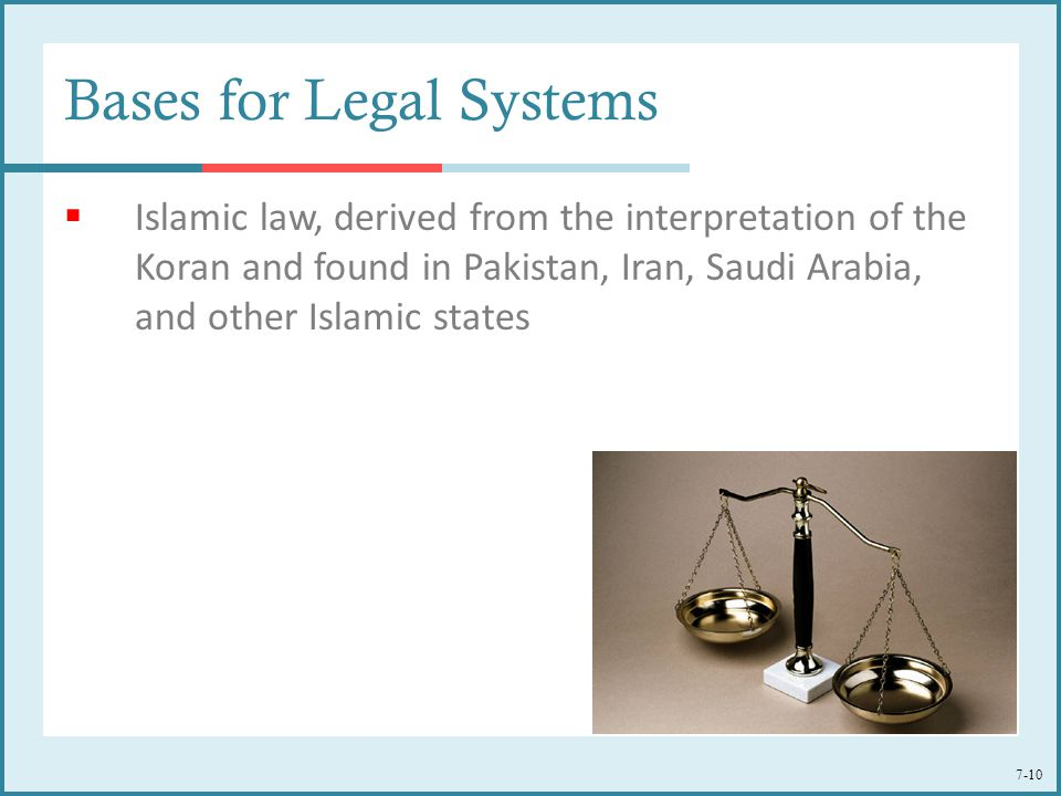 7-10 Bases for Legal Systems  Islamic law, derived from the interpretation of the Koran and found in Pakistan, Iran, Saudi Arabia, and other Islamic