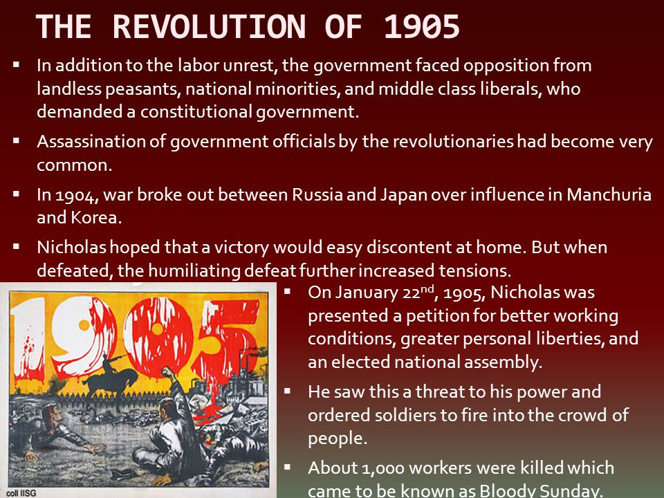 THE REVOLUTION OF 1905  In addition to the labor unrest, the government faced opposition from landless peasants, national minorities, and middle clas