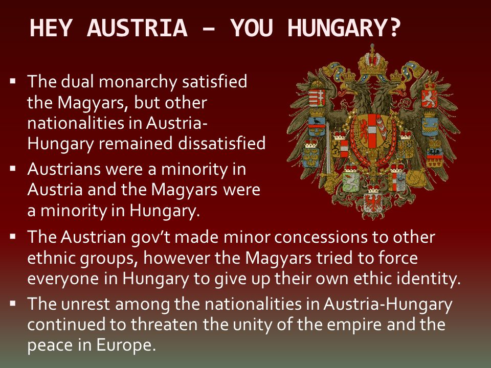 HEY AUSTRIA – YOU HUNGARY?  The dual monarchy satisfied the Magyars, but other nationalities in Austria- Hungary remained dissatisfied  Austrians we