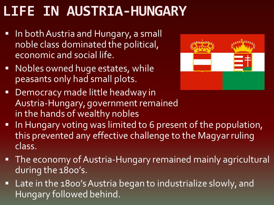 LIFE IN AUSTRIA-HUNGARY  In both Austria and Hungary, a small noble class dominated the political, economic and social life.  Nobles owned huge esta