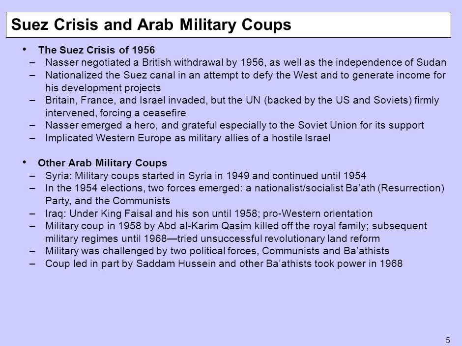 5 The Suez Crisis of 1956 –Nasser negotiated a British withdrawal by 1956, as well as the independence of Sudan –Nationalized the Suez canal in an att