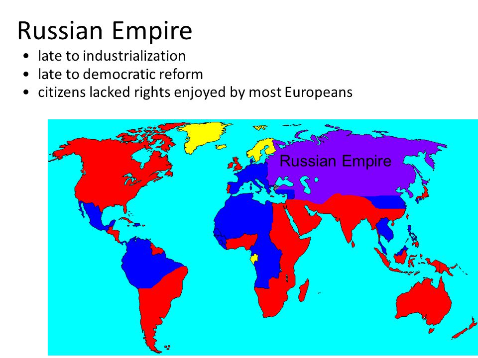 Russian Empire late to industrialization late to democratic reform citizens lacked rights enjoyed by most Europeans