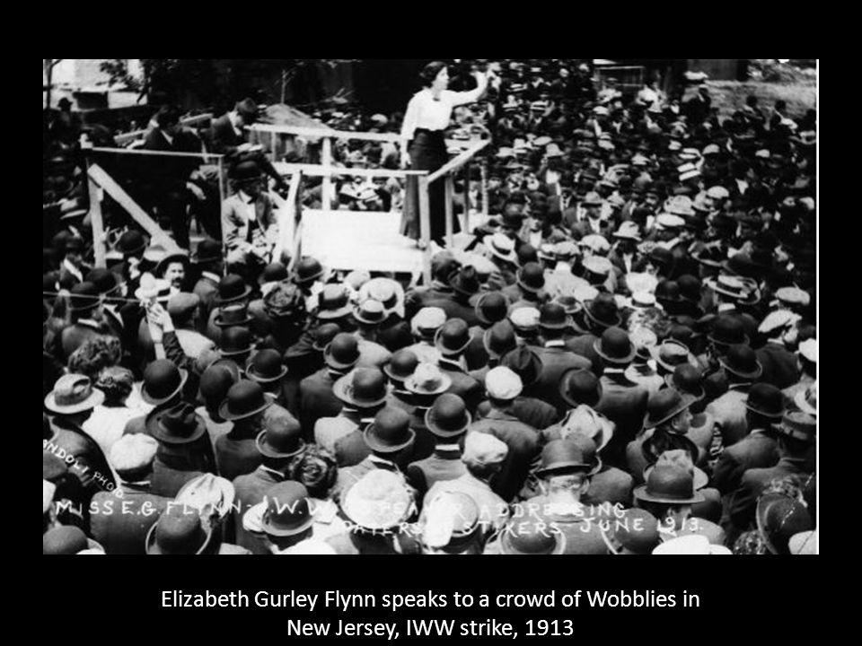 Elizabeth Gurley Flynn speaks to a crowd of Wobblies in New Jersey, IWW strike, 1913