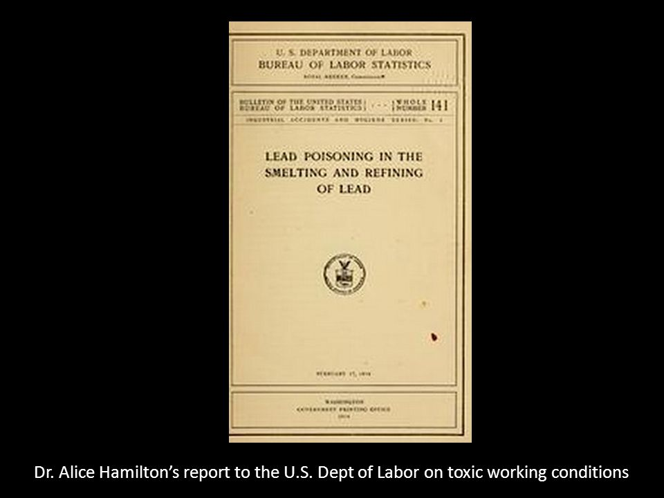 Dr. Alice Hamilton's report to the U.S. Dept of Labor on toxic working conditions