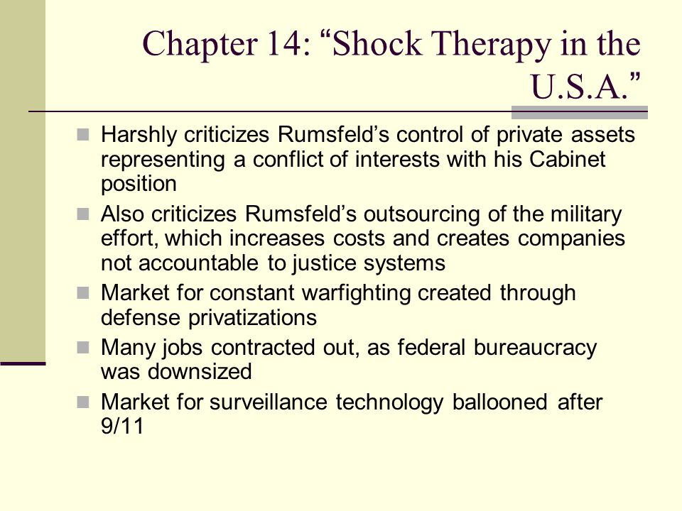Chapter 14: Shock Therapy in the U.S.A.