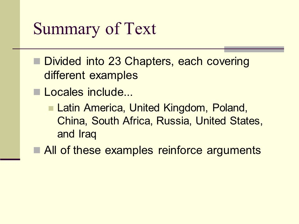 Summary of Text Divided into 23 Chapters, each covering different examples Locales include...