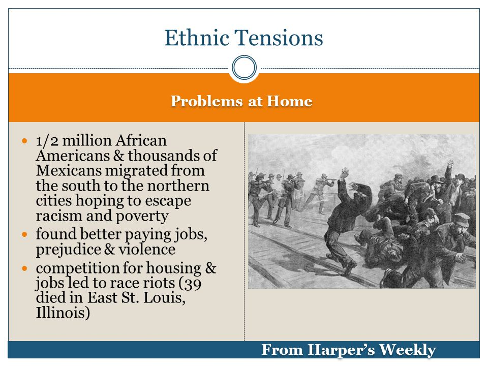 Problems at Home From Harper's Weekly 1/2 million African Americans & thousands of Mexicans migrated from the south to the northern cities hoping to escape racism and poverty found better paying jobs, prejudice & violence competition for housing & jobs led to race riots (39 died in East St.