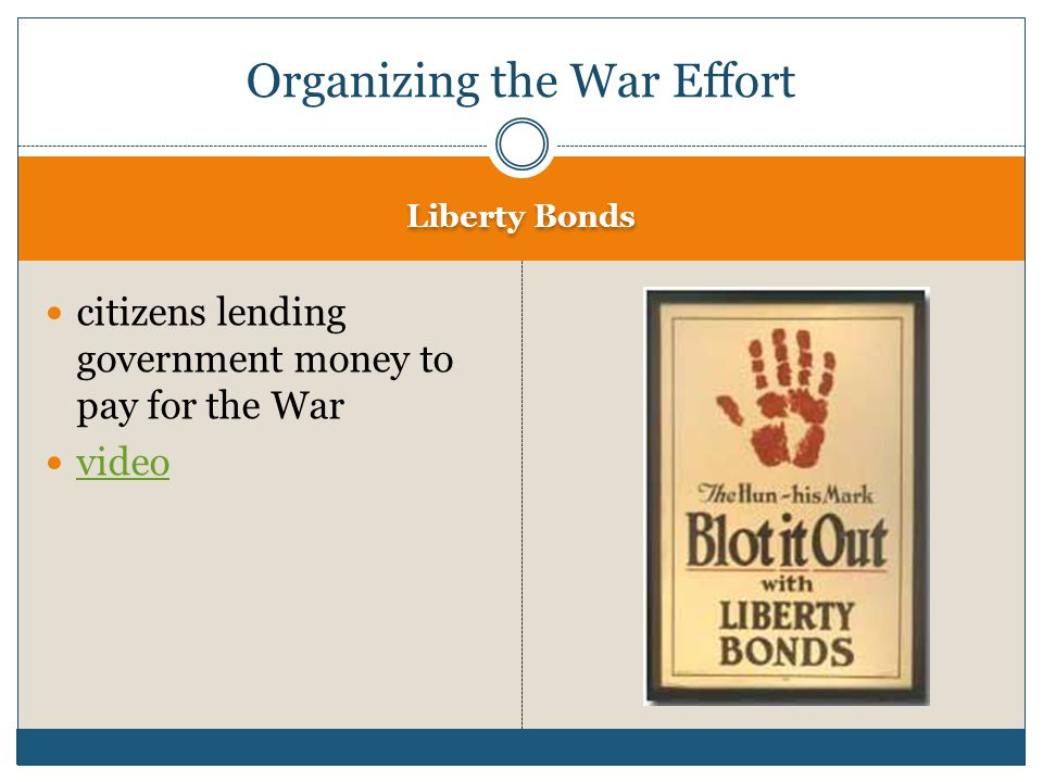Liberty Bonds citizens lending government money to pay for the War video Organizing the War Effort