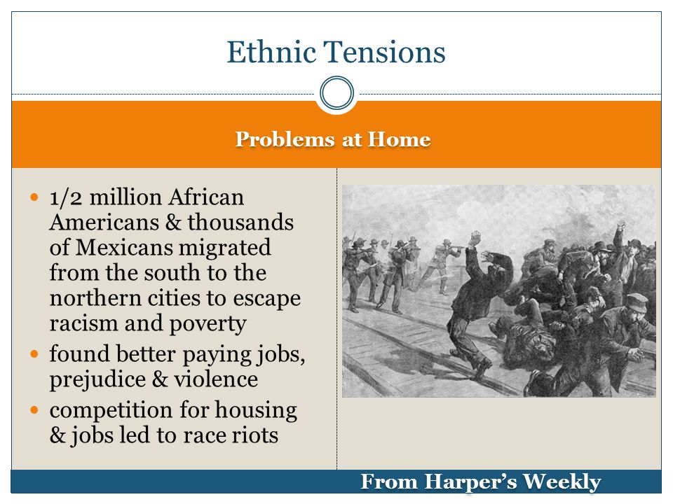 Problems at Home From Harper's Weekly 1/2 million African Americans & thousands of Mexicans migrated from the south to the northern cities to escape racism and poverty found better paying jobs, prejudice & violence competition for housing & jobs led to race riots Ethnic Tensions