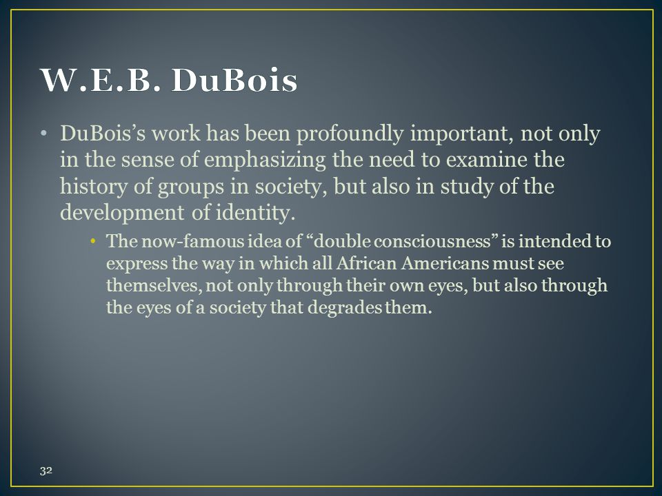DuBois's work has been profoundly important, not only in the sense of emphasizing the need to examine the history of groups in society, but also in st