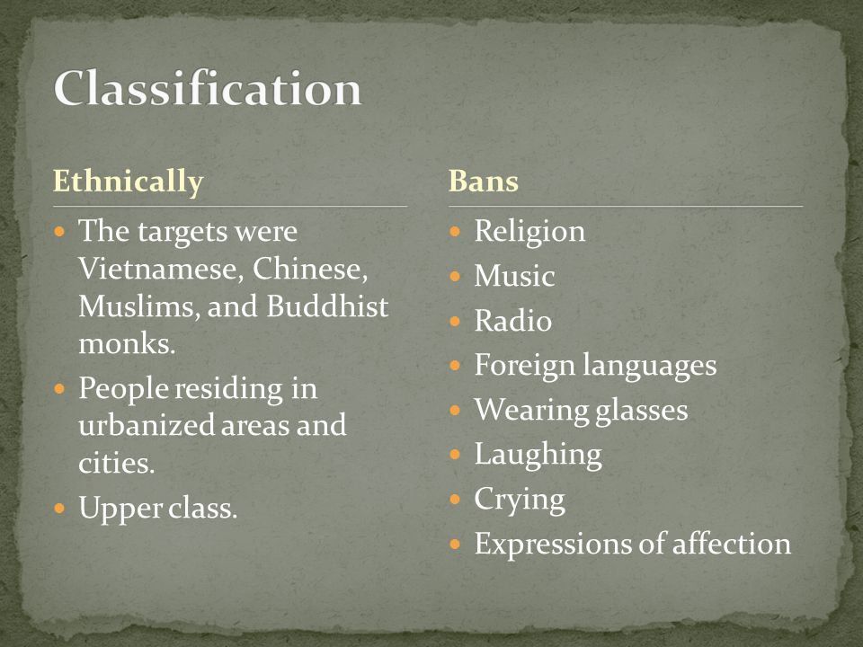 Ethnically The targets were Vietnamese, Chinese, Muslims, and Buddhist monks. People residing in urbanized areas and cities. Upper class. Religion Mus