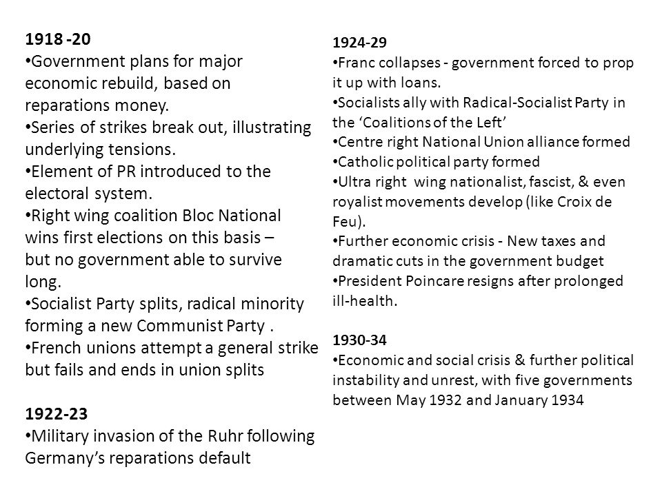 1918 -20 Government plans for major economic rebuild, based on reparations money. Series of strikes break out, illustrating underlying tensions. Eleme