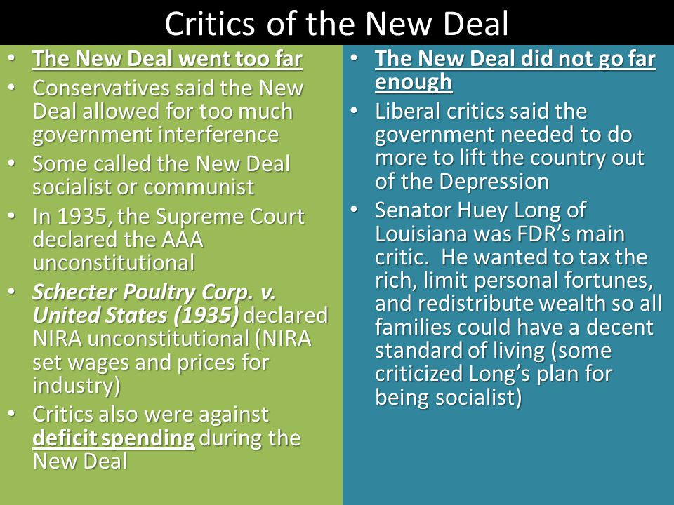 Critics of the New Deal The New Deal went too far The New Deal went too far Conservatives said the New Deal allowed for too much government interference Conservatives said the New Deal allowed for too much government interference Some called the New Deal socialist or communist Some called the New Deal socialist or communist In 1935, the Supreme Court declared the AAA unconstitutional In 1935, the Supreme Court declared the AAA unconstitutional Schecter Poultry Corp.