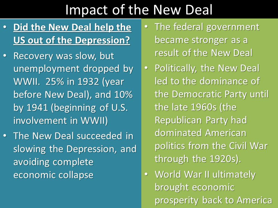 Impact of the New Deal Did the New Deal help the US out of the Depression? Did the New Deal help the US out of the Depression? Recovery was slow, but