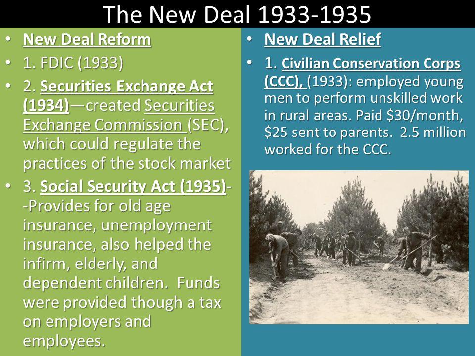 The New Deal 1933-1935 New Deal Reform New Deal Reform 1. FDIC (1933) 1. FDIC (1933) 2. Securities Exchange Act (1934)—created Securities Exchange Com