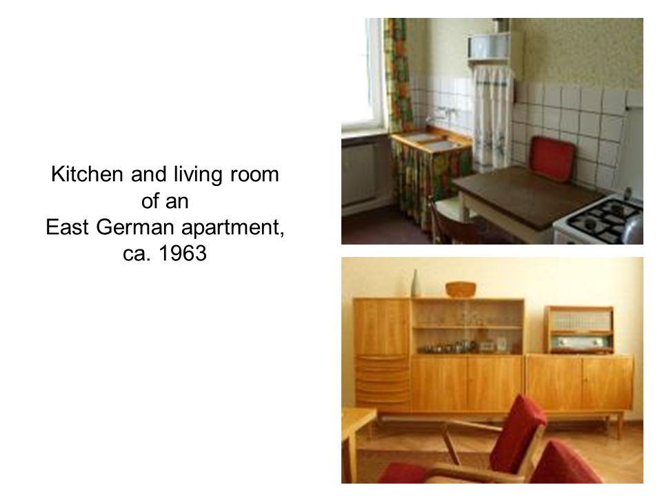 Kitchen and living room of an East German apartment, ca. 1963