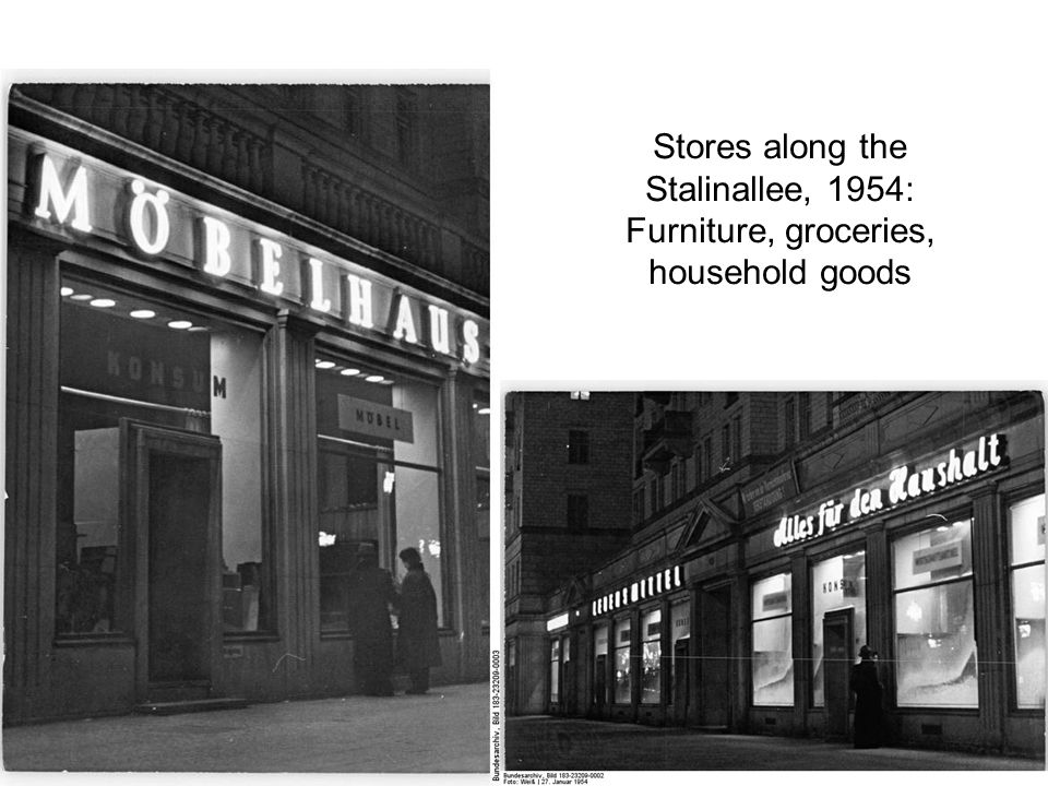Stores along the Stalinallee, 1954: Furniture, groceries, household goods