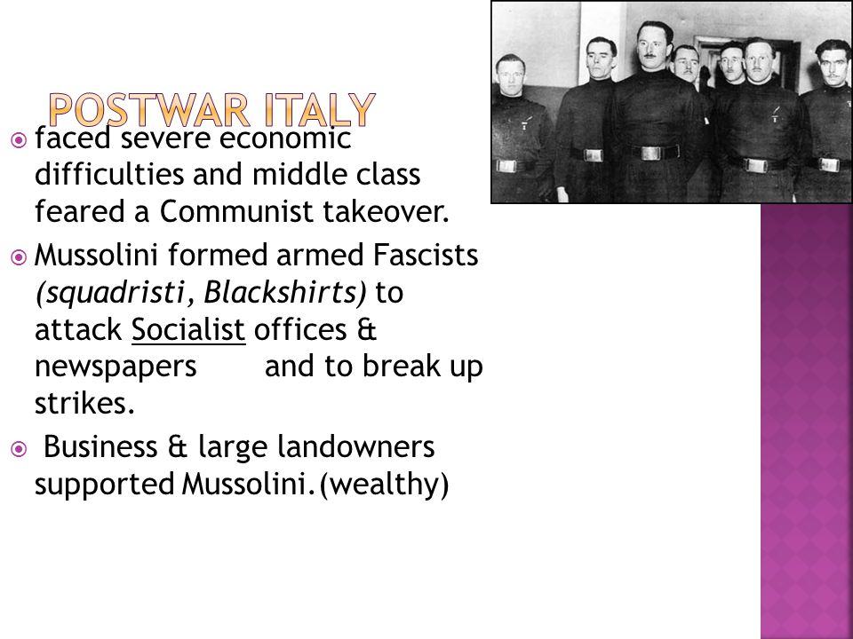  faced severe economic difficulties and middle class feared a Communist takeover.
