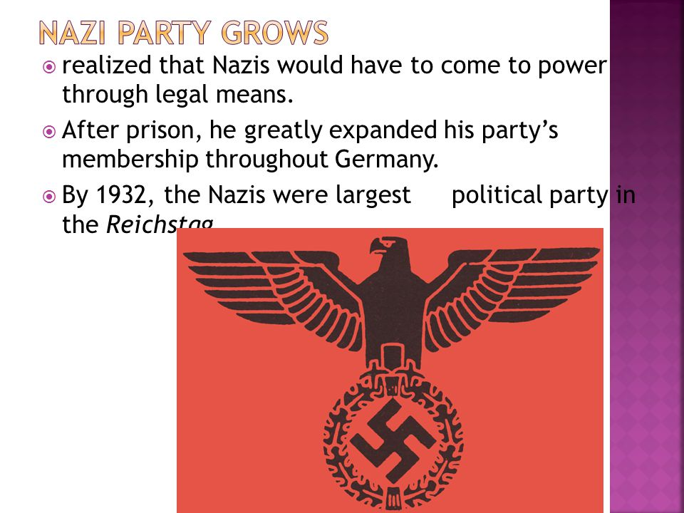  realized that Nazis would have to come to power through legal means.  After prison, he greatly expanded his party's membership throughout Germany.