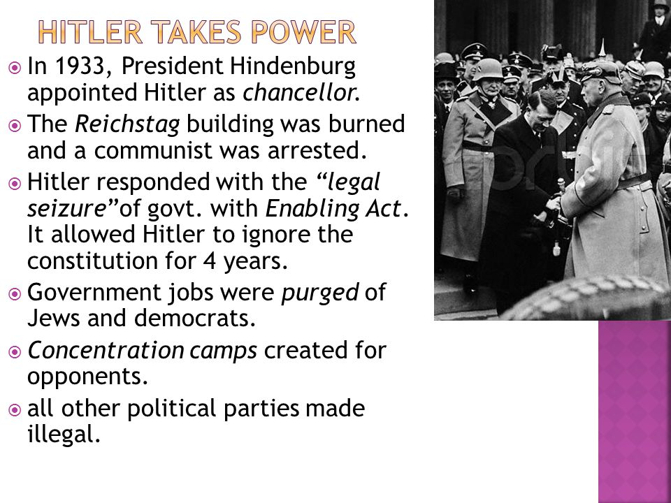  In 1933, President Hindenburg appointed Hitler as chancellor.