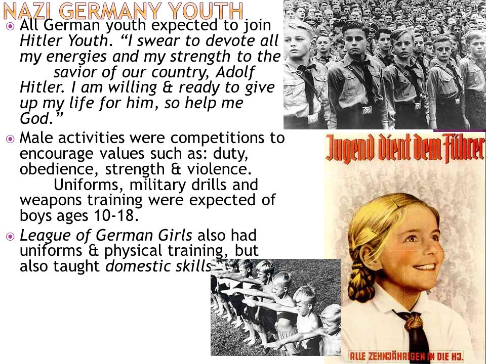  All German youth expected to join Hitler Youth.