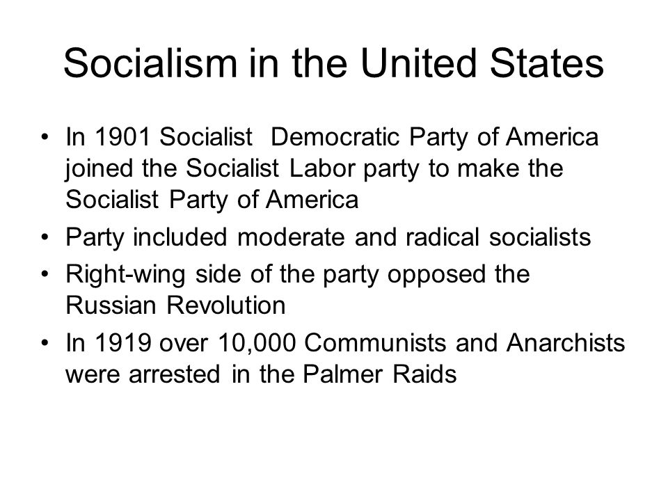 Socialism in the United States In 1901 Socialist Democratic Party of America joined the Socialist Labor party to make the Socialist Party of America Party included moderate and radical socialists Right-wing side of the party opposed the Russian Revolution In 1919 over 10,000 Communists and Anarchists were arrested in the Palmer Raids