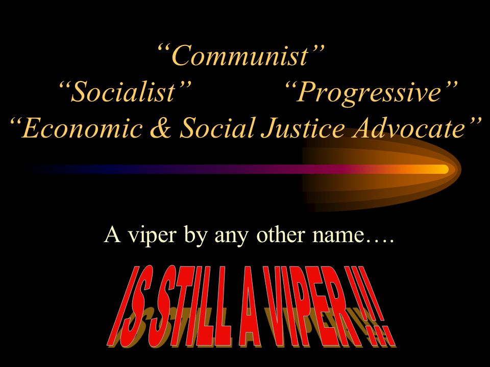 Communist Socialist Progressive Economic & Social Justice Advocate A viper by any other name….