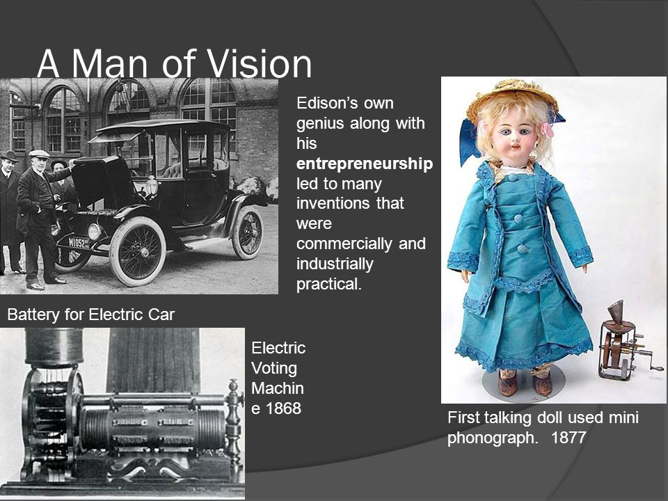 A Man of Vision Battery for Electric Car 1880 First talking doll used mini phonograph.
