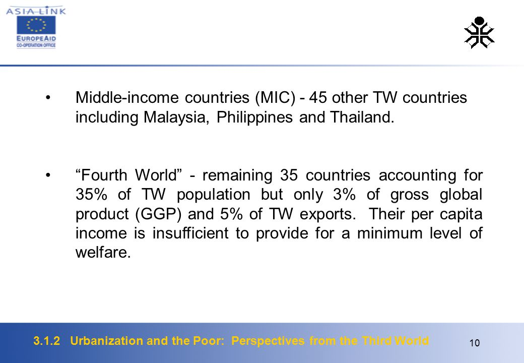 3.1.2 Urbanization and the Poor: Perspectives from the Third World 10 Middle-income countries (MIC) - 45 other TW countries including Malaysia, Philip