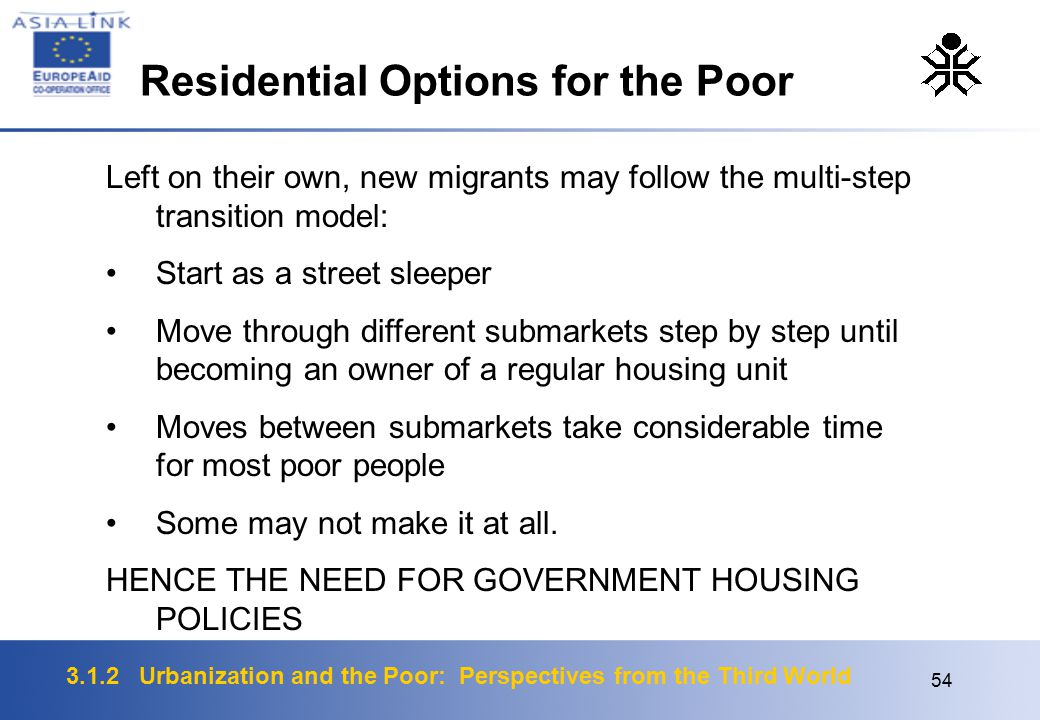 3.1.2 Urbanization and the Poor: Perspectives from the Third World 54 Left on their own, new migrants may follow the multi-step transition model: Start as a street sleeper Move through different submarkets step by step until becoming an owner of a regular housing unit Moves between submarkets take considerable time for most poor people Some may not make it at all.