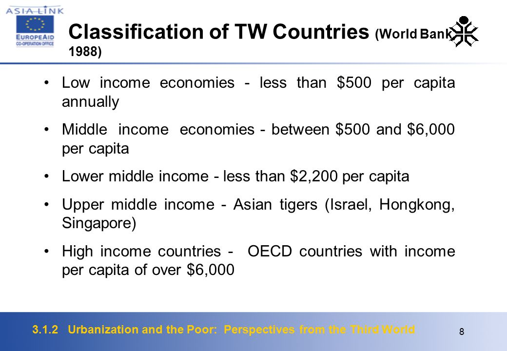 3.1.2 Urbanization and the Poor: Perspectives from the Third World 8 Low income economies - less than $500 per capita annually Middle income economies - between $500 and $6,000 per capita Lower middle income - less than $2,200 per capita Upper middle income - Asian tigers (Israel, Hongkong, Singapore) High income countries - OECD countries with income per capita of over $6,000 Classification of TW Countries (World Bank, 1988)